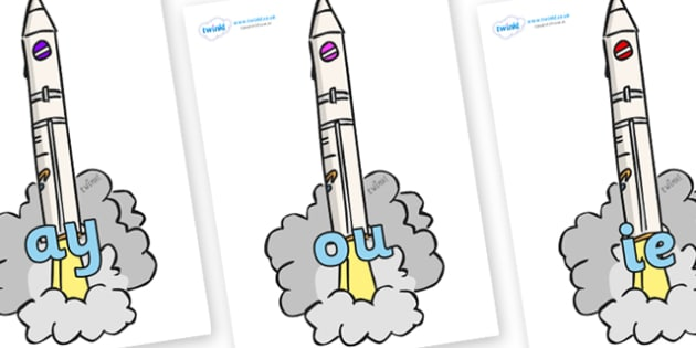 Phase 5 Phonemes on Launching Rockets - Phonemes, phoneme, Phase 5, Phase five, Foundation, Literacy, Letters and Sounds, DfES, display