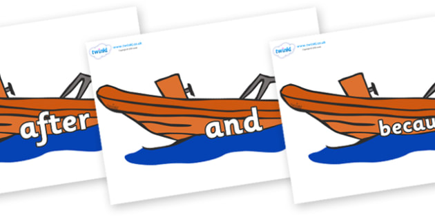 Connectives on Lifeboats - Connectives, VCOP, connective resources, connectives display words, connective displays