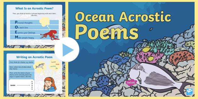 ocean acrostic poem powerpoint poetry writing ocean under