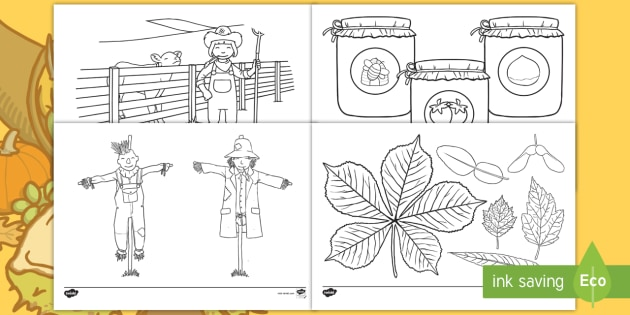 Harvest Themed Colouring Pages