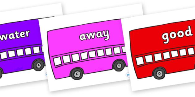 Next 200 Common Words on Buses - Next 200 Common Words on  - DfES Letters and Sounds, Letters and Sounds, Letters and sounds words, Common words, 200 common words