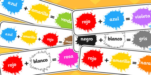 Spanish Colour Mixing Pack - spanish, colour, mixing, pack, mix