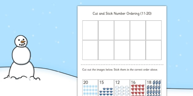 Winter Themed Cut and Stick Number Ordering Sheets 11 to 20 - winter, cut, stick, number ordering