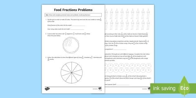 new food themed fraction problems activity sheet fractions word problems