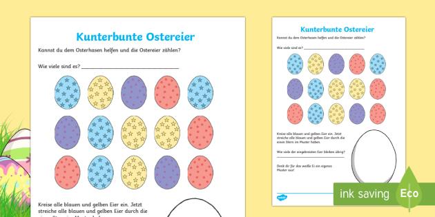 Kunterbunte Ostereier Arbeitsblatt: Lesen und Malen - spring