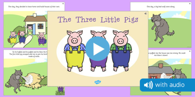 The Three Little Pigs Narrated Story - traditional tale, sounds, spoken, auditory, listening, early years, ks1, key stage 1, retelling