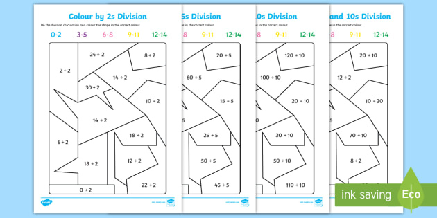 Colour by 2s 5s and 10s Division Worksheet / Activity Sheet