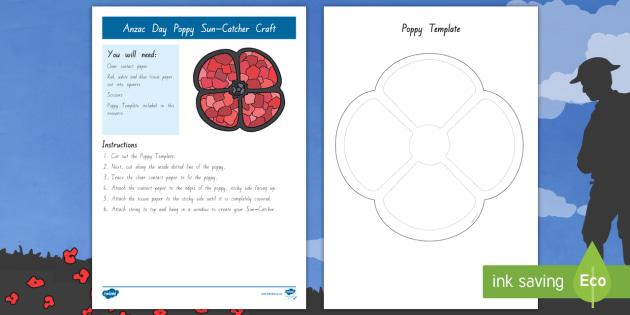 New Anzac Day Suncatcher Poppy Craft Remembrance