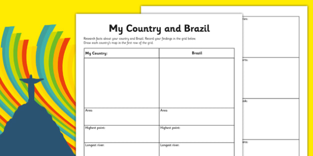 Rio Olympics 2016 My Country and Brazil Research Worksheet / Activity Sheet - Rio, Olympics, 2016, country, factfile, Brazil, geography, worksheet