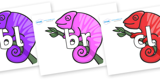 Initial Letter Blends on Chameleons - Initial Letters, initial letter, letter blend, letter blends, consonant, consonants, digraph, trigraph, literacy, alphabet, letters, foundation stage literacy