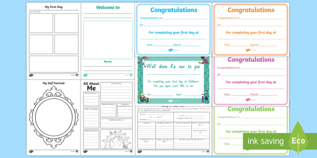 Early Childhood First Day 3 -5 years Resource Pack - New Zealand Back to School, first day of school, first day, profile, early years profile, new starte