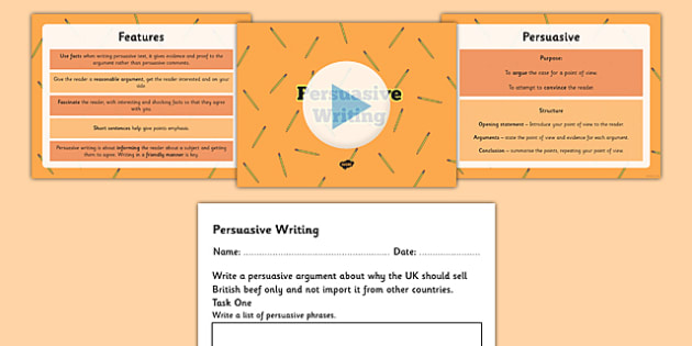persuasive writing powerpoint Pick your powerpoint template picking your ppt template and creating your slides is the fifth step on this list, rather than the first—and for good reason the content of your presentation should come first.