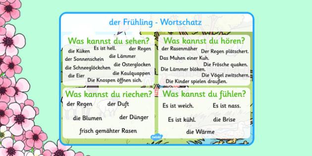 Spring Themed Senses Word Mat German - german, spring, seasons, word mat, senses
