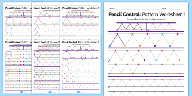 Pencil Control Pattern Workbook - pencil control, motor skills, literacy, writing, handwriting, fine motor