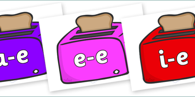 Modifying E Letters on Toasters - Modifying E, letters, modify, Phase 5, Phase five, alternative spellings for phonemes, DfES letters and Sounds