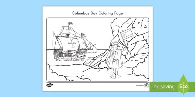 Columbus Day Coloring Page - Teaching Resource Twinkl worksheet