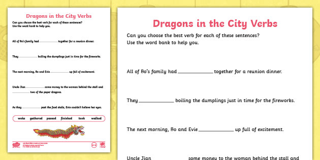 Dragons In The City Verb Worksheets - Chinese New Year