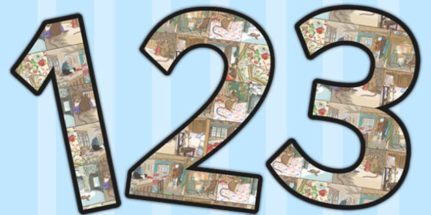 The Tailor of Gloucester Themed A4 Display Numbers - gloucester
