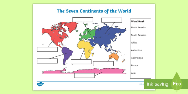 photo about 7 Continents Printable named The 7 Continents Labelling Sport Worksheet