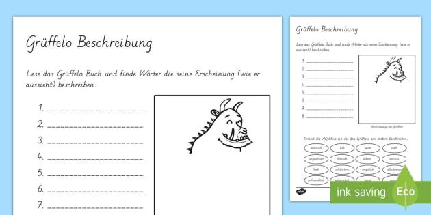 Der Grüffelo Beschreibung Arbeitsblatt-German - Grüffelo, Beschreibung, Adjektive,German