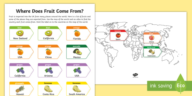 Map of the world and exported fruit worksheet activity sheet map of the world and exported fruit worksheet activity sheet ks2 geography gumiabroncs Gallery