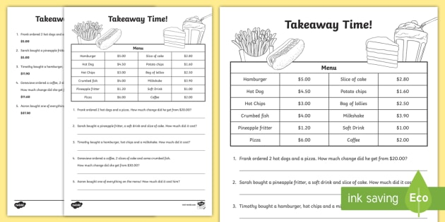 takeaway maths worksheet activity sheet australian currency money. Black Bedroom Furniture Sets. Home Design Ideas