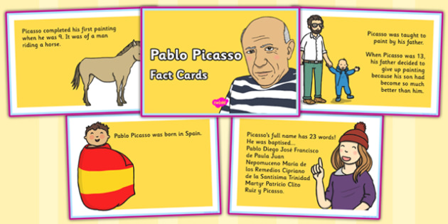 Pablo Picasso Fact Cards - pablo, picasso, fact cards, facts