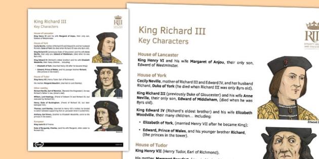 Richard III Key Characters Information Sheet - richard III, sheet