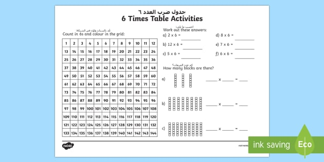 6 times table worksheet activity sheet arabicenglish 6 6 times table worksheet activity sheet arabicenglish 6 times table worksheet ibookread PDF