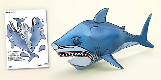 Shark Paper Toy : Under the sea simple d shark