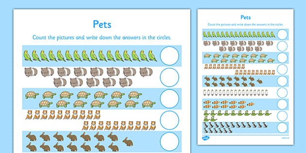 Pets Counting 11 20 Worksheet Activity Sheet Pets