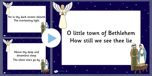 O Little Town Of Bethlehem Lyrics PowerPoint - christmas, lyrics