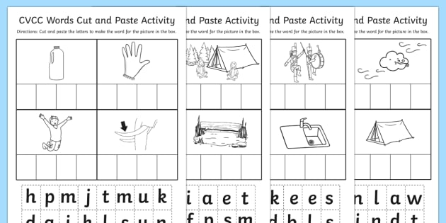 CVCC Cut and Paste Worksheet - cvcc, cut, paste, worksheet, work