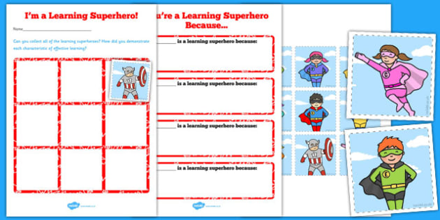 Learning Superheroes Chart With Statements - learning, superheroes, chart, statements