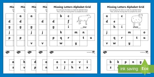 Farm Missing Letters Alphabet Grid Worksheet (teacher Made)