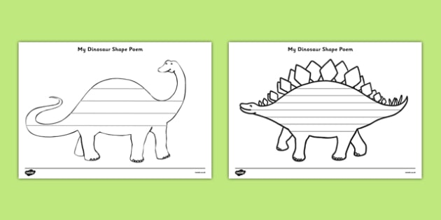 Dinosaur Shape Poetry - dinosaurs, poem, poetry, poems, rhymes