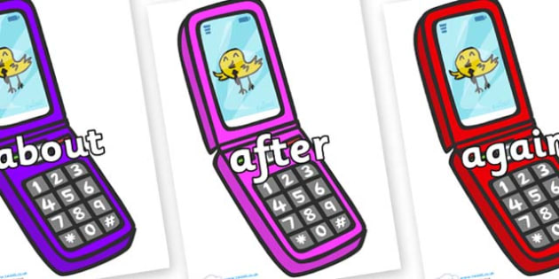 KS1 Keywords on Mobile Phone - KS1, CLL, Communication language and literacy, Display, Key words, high frequency words, foundation stage literacy, DfES Letters and Sounds, Letters and Sounds, spelling