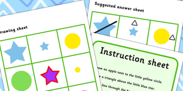 Listen And Do 1 Five Word Level - drawing, levels, worksheets