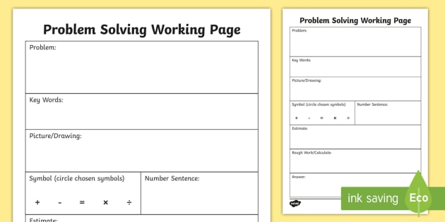 Problem Solving Working Worksheet / Worksheet - Maths, Word ...