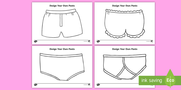 New Design Your Own Pants Activity Sheets Potty Training
