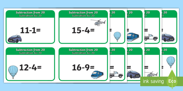 Subtraction From 20 Cards English/German - minus, take away, learning, EAL, translation