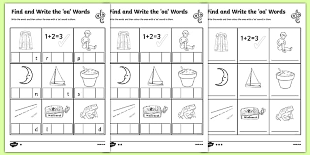 Letters And Sounds Oa Words Differentiated Worksheets