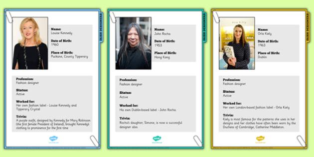 Irish Designers Factfile Display Posters - fashion, celebrities