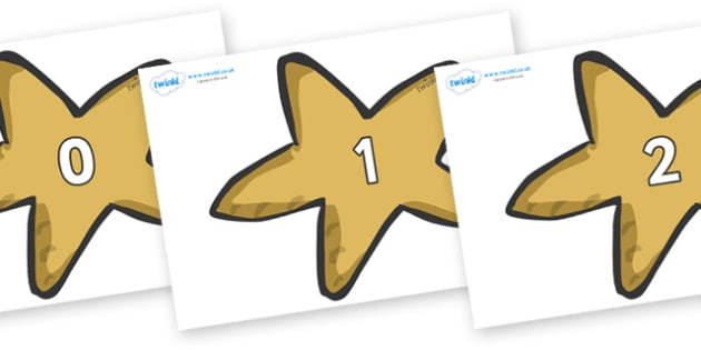 Numbers 0-31 on Starfish - 0-31, foundation stage numeracy, Number recognition, Number flashcards, counting, number frieze, Display numbers, number posters