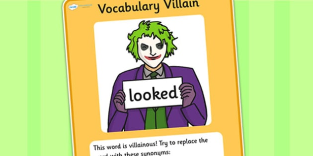 Vocabulary Villain Looked Display Poster - vocabulary, poster