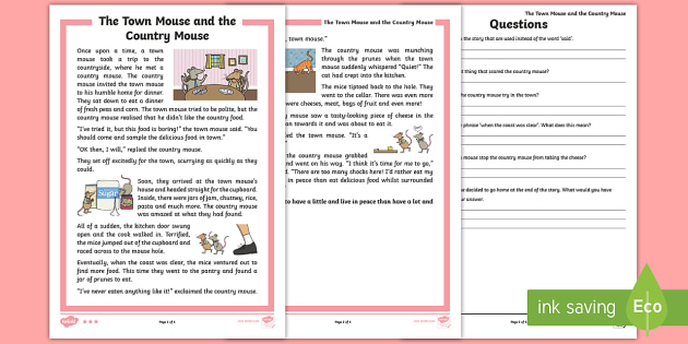 The town mouse and the country mouse differentiated reading the town mouse and the country mouse differentiated reading comprehension activity ks1 comprehensions aesops ibookread Read Online
