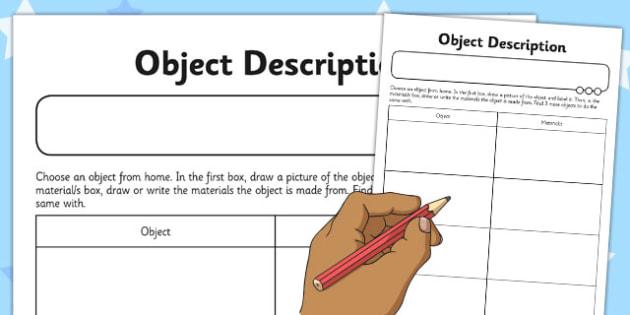 Object Description Activity Sheet - object, description, activity, sheet, worksheet