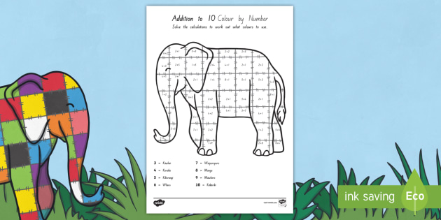 Addition to 10 Colour By Numbers Sheet Māori to Support Teaching on Elmer - māori, add, adding, maths