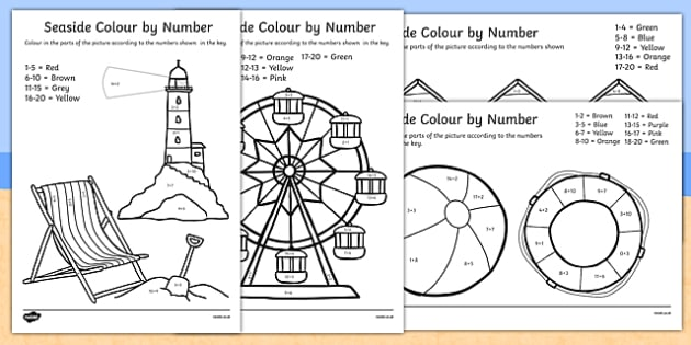 Addition to 20 Seaside Themed Colour by Numbers - add, adding, maths, numbes, +, adition, colourby numbers, coloyur by number, nubers, additon, matsh, seaside, sea, water, coast, sun, ks1, eyfs
