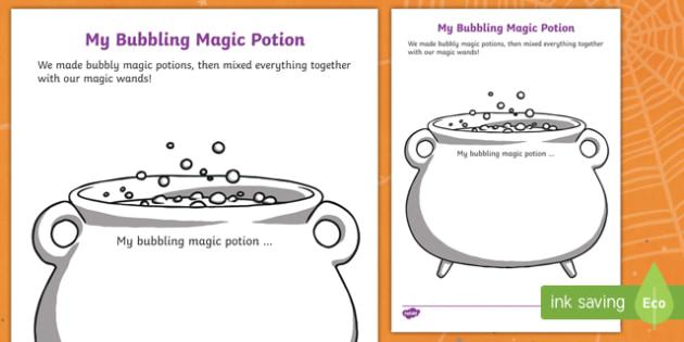 My Bubbling Magic Potion Activity Sheet